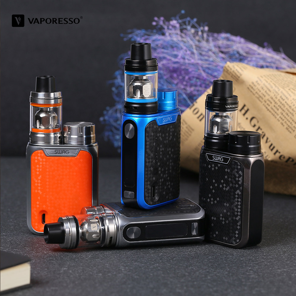 Clearance Original Vaporesso Swag Electronic Cigarette Kit With 3.5ml NRG SE Tank 80W Box Mod Portable Size Vape Vaporizer