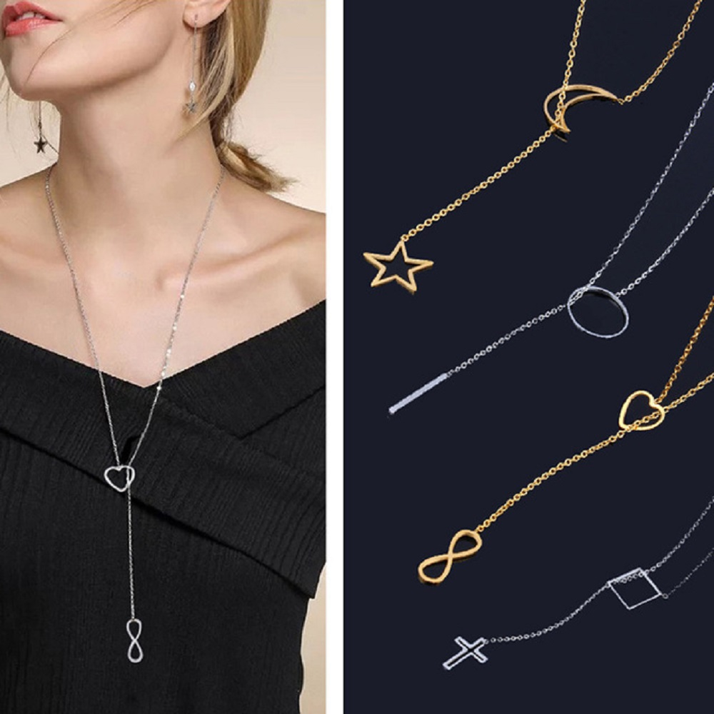 stainless steel gold chain choker long star moon arrow infinity clover necklace women chocker neckless accessories jewellery