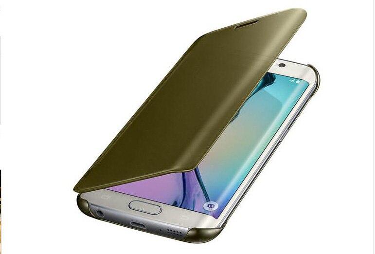 Couverture de vue claire pour Samsung GALAXY S6 Edge plus/s7/s7 bord miroir écran Flip cuir Capa Para protecteur puce intelligente