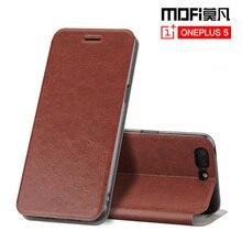 OnePlus 5 Чехол кожаный силиконовые флип 1 плюс 5 A5000 Оригинал MOFI OnePlus 5 случаях САППУ OnePlus 5 Полное покрытие защиты