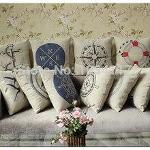 Calidad Superior gruesa resistente al desgaste Retro Vintage pájaro barco impreso algodón Lino cojín decoración del hogar para sofá almohada silla cama 45