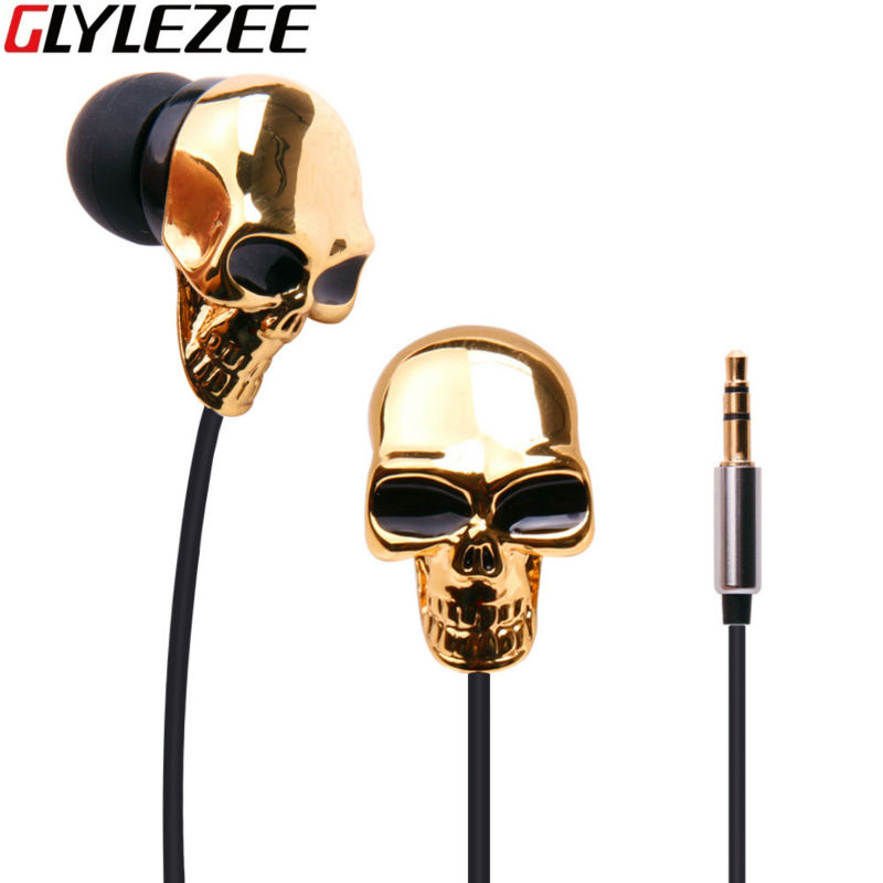 metal skull earphone in ear 35mm heavy bass sound quality music earphone with original box for halloween christmas gift - Online Halloween Music