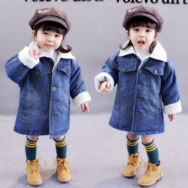 Baby New jacket 2017 new winter plus Korean children long cashmere clothes 2-7 years old girls winter coat Girl cowboy Jacket children cowboy jacket coat hooded 2017 winter new tide thick cashmere long outerwear size 4 5 6 7 8 9 10 11 12 13 years girl