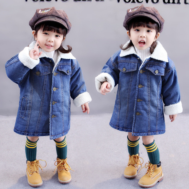 Baby New jacket 2018 new winter plus  Korean children long cashmere clothes 2-7 years old girls winter coat Girl cowboy Jacket