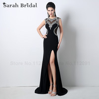 Sexy Black Tulle mermaid Prom Dresses High Slit 2017 Luxury Crystal Evening Gowns See through Tulle Sleeveless