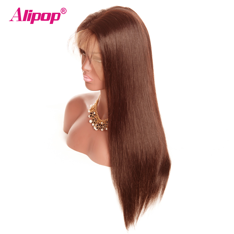 ALIPOP Brazilian Lace Front Human Hair Dark Light Brown Hair #2 #4 Wigs PrePluck Natural Hairline Non Remy 130% Density Glueless