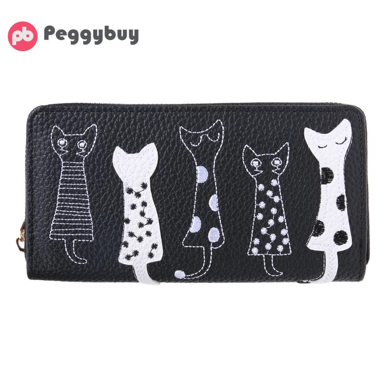 New Europe Women Cat Cartoon Wallet Female Long Creative Card Holder Casual Zip Ladies Clutch PU Leather Coin Purse ID Holder cute women cat cartoon wallet long female pu leather purse card holder casual zip ladies clutch wallet coin purse id holder new