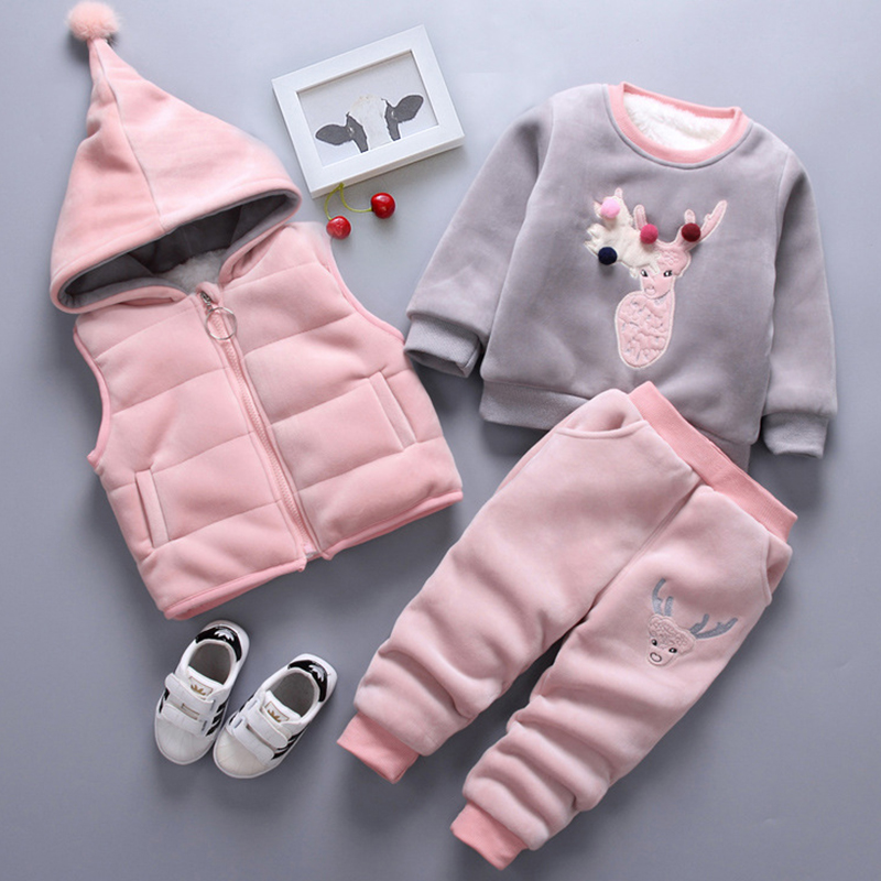 Baby Girls Winter Thick Suit Sweatshirt+Hooded Vest+Pants 3pcs Sweater Casual Suit Boy Sports Suit Child Clothes Kids Clothing все цены
