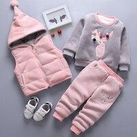 Baby Girls Winter Thick Suit Sweatshirt+Hooded Vest+Pants 3pcs Sweater Casual Suit Boy Sports Suit Child Clothes Kids Clothing