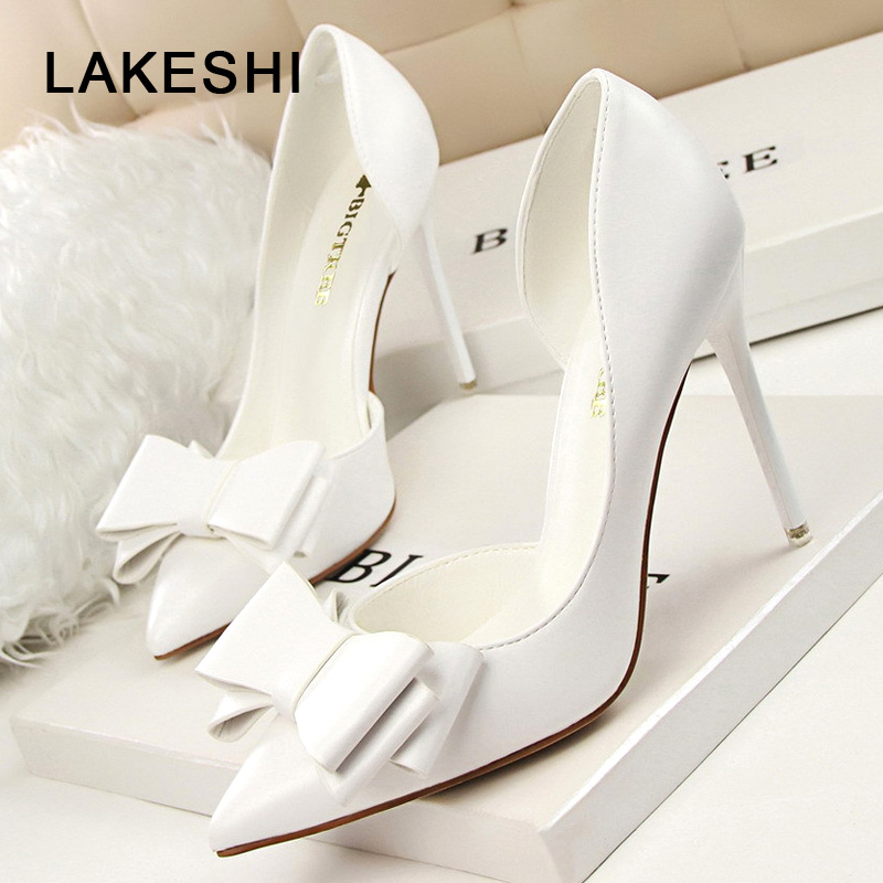 LAKESHI 2018 Fashion Women Pumps Sexy High Heels Wedding Shoes Solid Pointed Toe Stiletto Bow Women Shoes White Ladies Shoes quanzixuan women pumps sexy high heels bling women shoes fashion wedding shoes pointed toe stiletto gold party ladies shoes