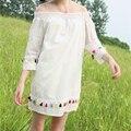Весна женщин новый Милый маленький сексуальный слово воротник Каваи цвета радуги кисточкой сплошной цвет свободные Пять рукава dress для девушки
