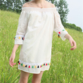 Spring women new Cute little sexy the word collar  Kawaii Rainbow color tassel solid color loose Five sleeves dress for girls