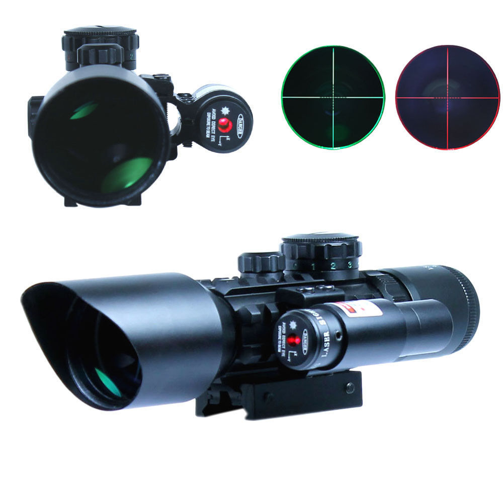 3-10x40 E Mil-dot Tactical Rifle Scope Red Laser Dual Illuminated Shooting Lens With Rail Mounts Combo Airsoft Weapon Gun Sight