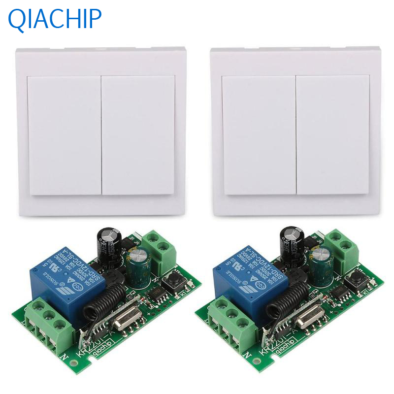 2pcs Dual Push Buttons Wall Switch Light Switch Interruptor 2pcs Single Wireless Remote Control Switch Relay Control Board Wide 2pcs receiver transmitters with 2 dual button remote control wireless remote control switch led light lamp remote on off system
