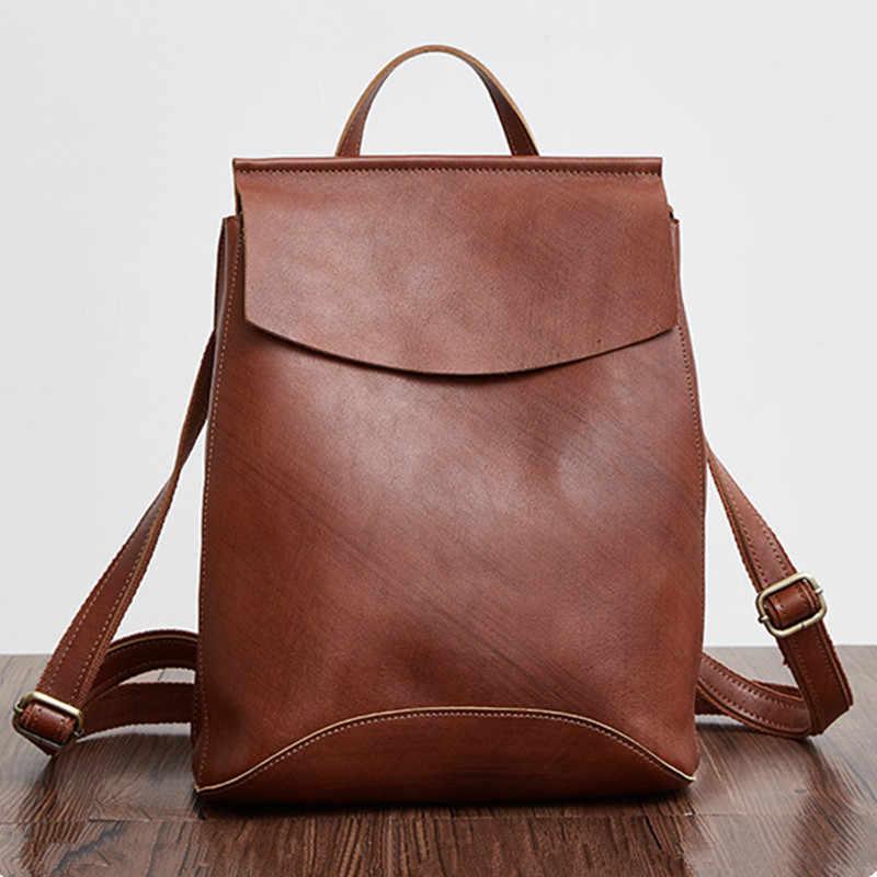 4e4f4ab1cbf6 Роскошные ручной работы Crazy Horse кожа Для женщин рюкзак Винтаж коричневый  Для женщин Дорожные сумки Пояса