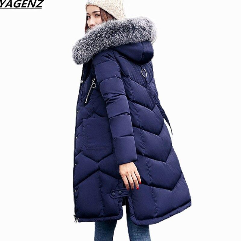 2018 Winter Women Hooded Coat Fur Collar Thicken Warm Long Jacket Female Plus Size 3XL Outerwear   Parka   Down Cotton Jacket K711