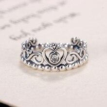 Благородный Серебряный цвет Моя Принцесса Королева Корона Обручальное Брендовое кольцо с прозрачным фианитом женские ювелирные изделия п...