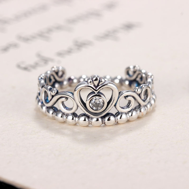 649c565a8 Noble Silver Color My Princess Queen Crown Engagement Pandora Ring with  Clear CZ Women Jewelry Valentine's
