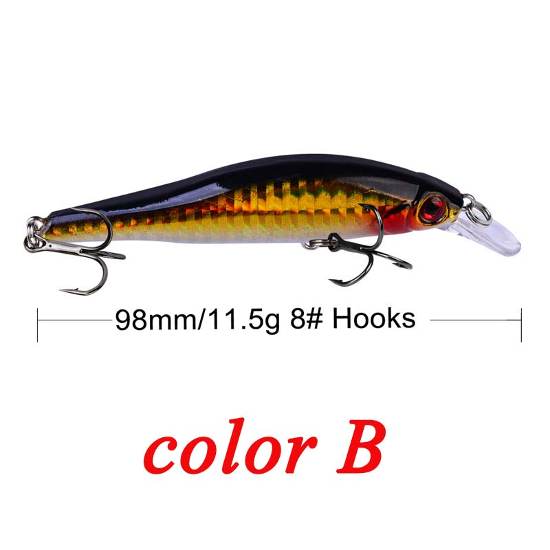 Image 3 - 9.8cm 11.5g Hard Minnow Fishing Lure Topwater Floating Wobblers Crankbait Bass Artificial Baits Pike Carp Lures Peche 30-in Fishing Lures from Sports & Entertainment