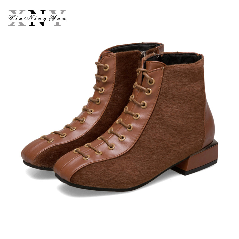 XIUNINGYAN New Women Ankle Boots Flock Pu Leather Short Booties Lace Up Winter Boots Women with Fur Spring Autumn Shoes Woman