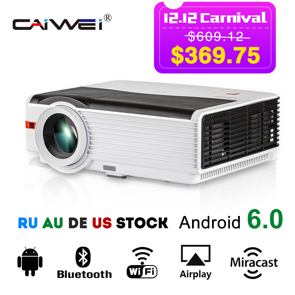 CAIWEI Android Wifi Projecteur LCD Home Cinéma Bluetooth Beamer Sans Fil Sync 1080 p Film Vidéo Jeux Multimédia VGA USB HDMI