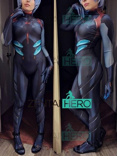 Бесплатная доставка 3D печатных черный Rei Ayanami Евангелион Косплэй костюм EVA Нагиса Каору Зентаи боди 18051704