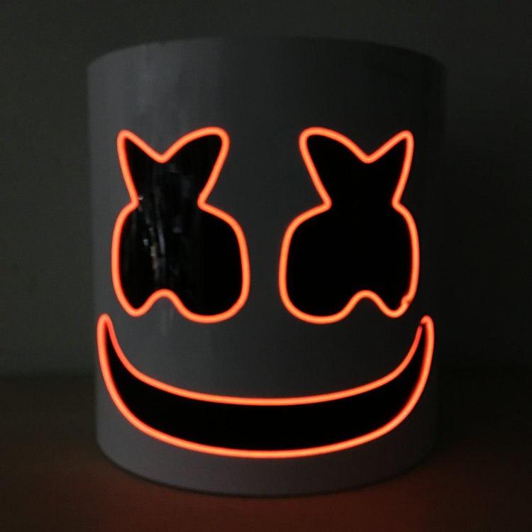 LED Flash Type DJ Marshmello masque futur Bar basse musique fête pleine tête PVC casque pour adulte Halloween carnaval Cosplay accessoires
