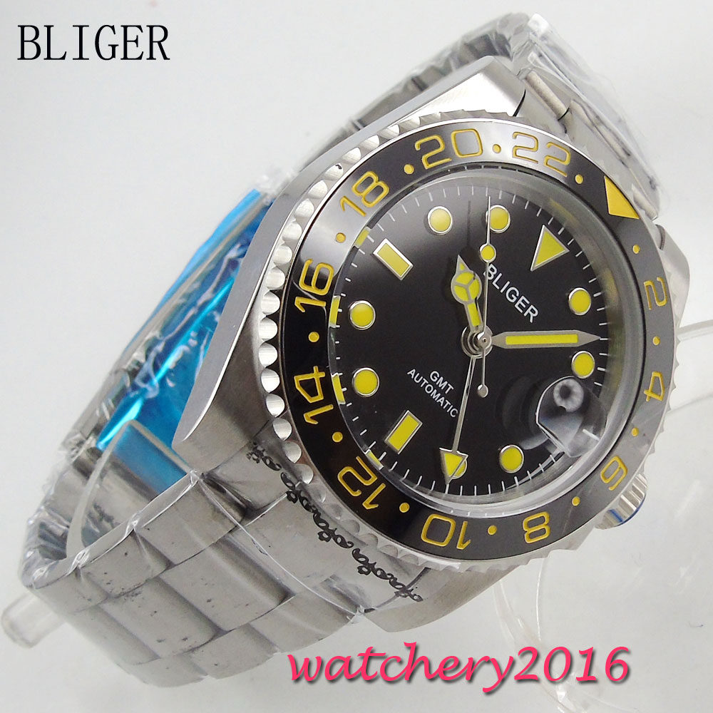 Luxury Brand BLIGER Mechanical Watches 43mm black sterile dial GMT Ceramic Bezel sapphire glass automatic men's watch цена и фото