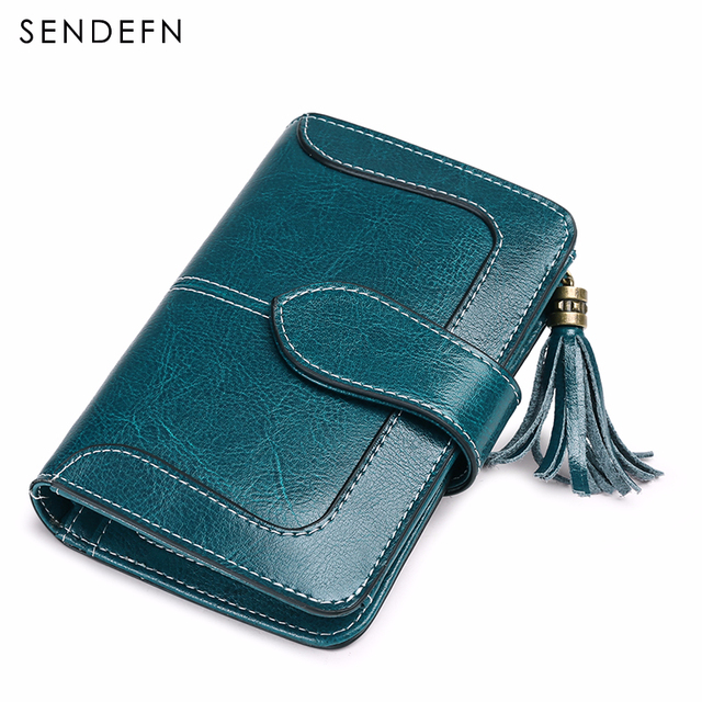 SENDEFN 2018 New Arrival Wallet Female Small Purse Leather Short Wallet Women Zipper Pocket Tassel Two Fold Coin Purse 5196-72