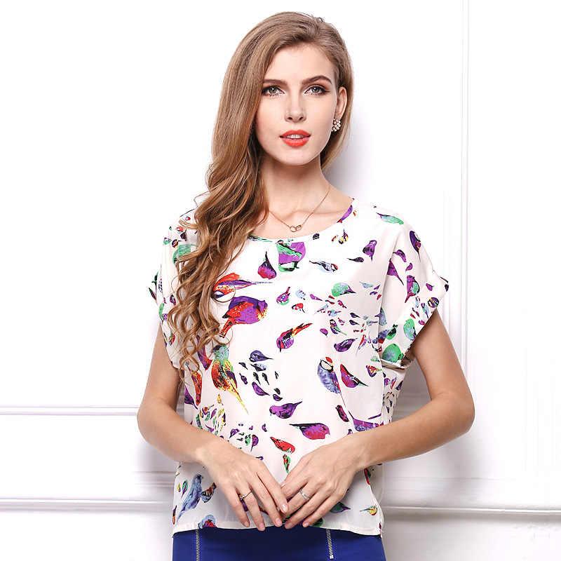 Vrouwen Tops En T-shirt 2019 Nieuwe Mode Veer Gedrukt Tshirt Plus Size Shirt Korte Mouwen Chiffon Overhemd Vestidos HJY1213