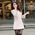 women's spring woolen jackets autumn winter fashion trench 3/4 sleeve Slim long wool coat female S-XXL QY15080305