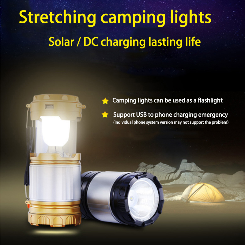 Collapsible Solar Powered Led Portable Lantern with AC Charging and USB Phone Charging- Tent Lights - Camping Lights