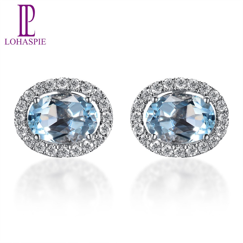 Lohaspie 145ct Natural Gemstone Aquamarine And Diamonds Solid 18k 750  White Gold Stud Earrings For