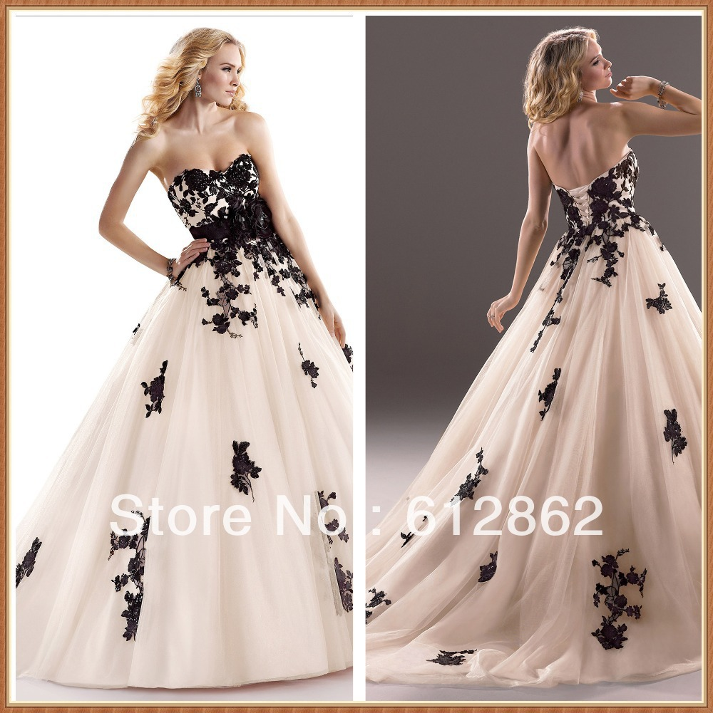 Strapless sweetheart neckline ball gown black and white for Wedding dresses white and black