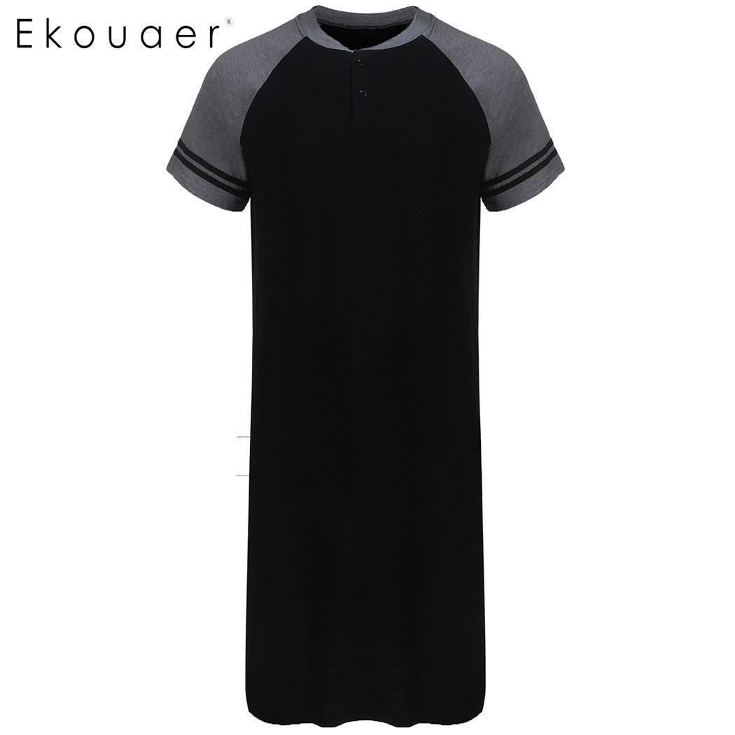 d64853cae5 Ekouaer Men Long Nightshirt Sleep Top Nightwear Henley Neck Short Sleeve  Patchwork Sleep Shirt Soft Sleepwear