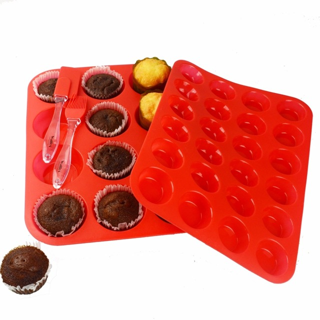 12 Cup Silicone Muffin Pan & Cupcake Baking Pan – Mini Muffin Pan-Silicone Bakeware 12 Cup Baking Tray Cupcake Moulds