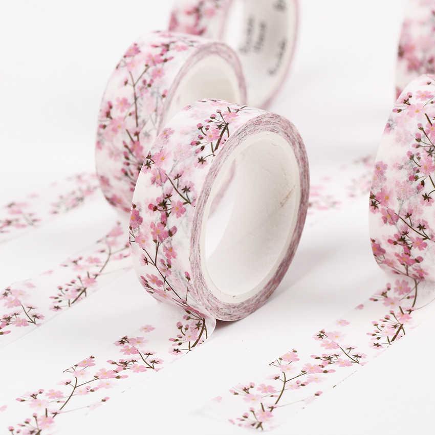 15 ミリメートル × 7 メートルかわいい桜の花の装飾紙和紙テープdiyマスキングテープ学校の事務用品