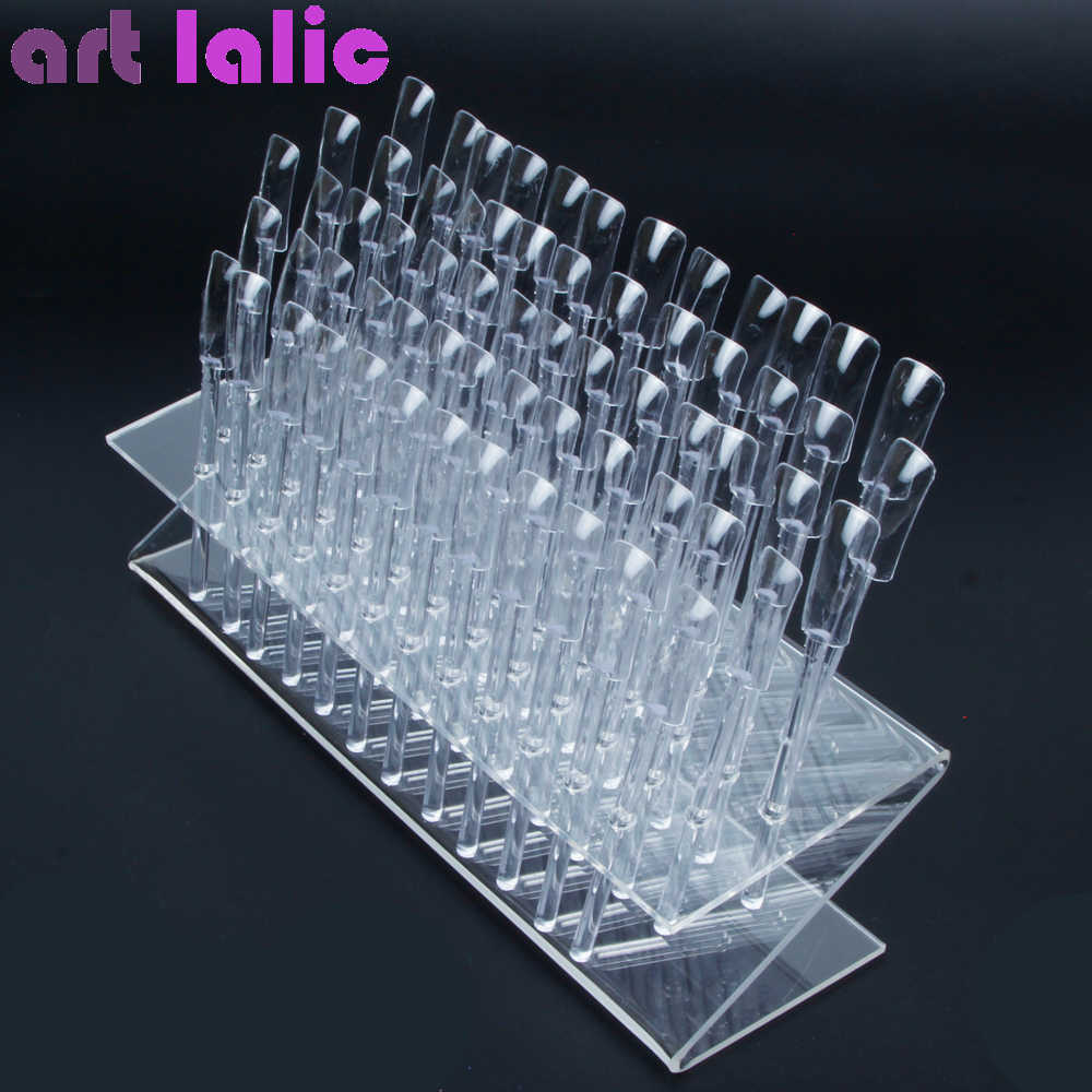 New 64 Tips Pop Sticks Nail Art Clear Tips Display Stand Nail Polish Practice Training Tool Color Swatches
