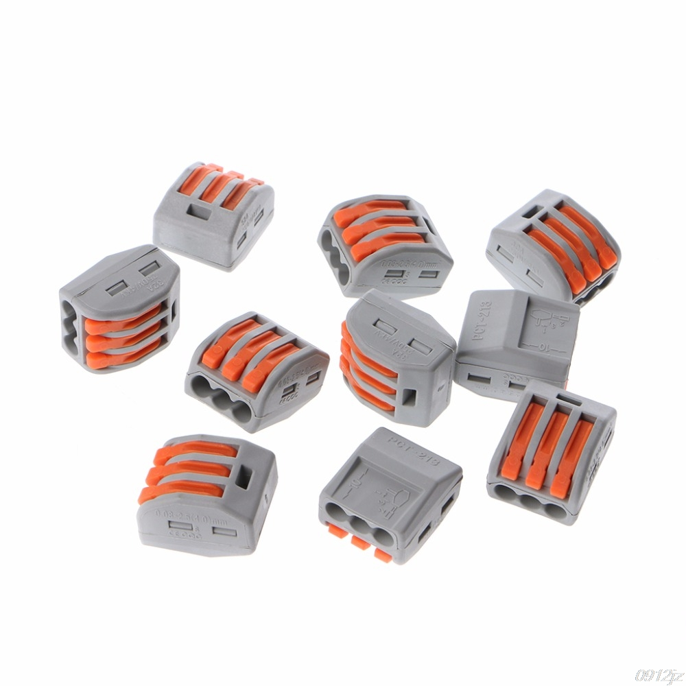 10 Pcs 3 Way Electric Cable Wire Connector Reusable Lever Terminal Block Wire Connectors C90A New Drop ship