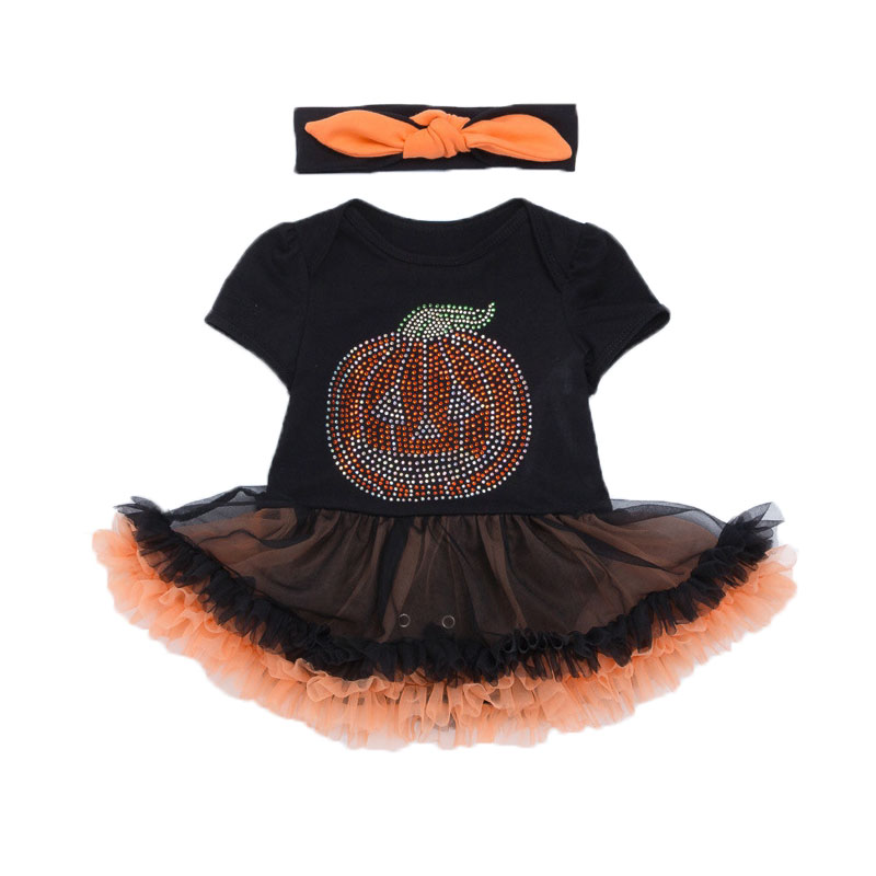 Pumpkin Sequin Baby Halloween Costume Toddler Lace Romper Dress Headband 2pcs Suits Newborn Tutu Sets Infant Clothing Sets skull pumpkin orange baby halloween costumes long sleeve baby girl romper dress lace tutu jumpsuit macacao bebe newborn clothing