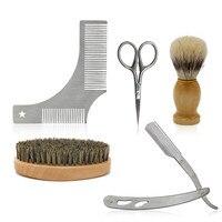 CestoMen Men Beard Tools Kit Luxury Gift Set With Beard Brush Shaving Razor Shear And Beard Comb Mustache Care Tool
