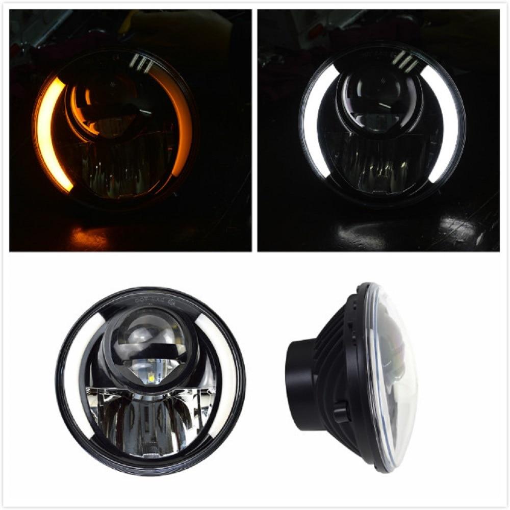 J231 Pair 7 round hi/lo beam led headlights with halo angle eyes fits jeep wrangler TJ CJ LJ JK Harley Hummer car led courtesy door projector light ghost shadow light for audi a1 a3 a4 a6 a5 a7 a8 80 tt q3 q5 q7 s line c5 c6 b5 b6 b7