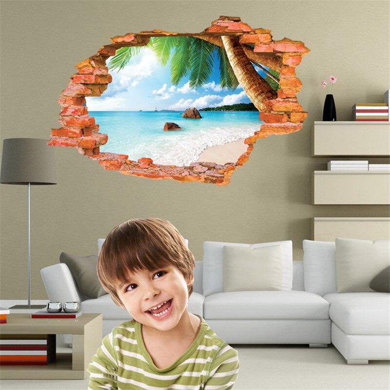 Summer <font><b>Style</b></font> <font><b>Wall</b></font> <font><b>Sticker</b></font> 3D Removable Beach <font><b>Sea</b></font> Scenery Bedroom Decor Wallpaper Kids <font><b>Wall</b></font> Home Decor <font><b>Decals</b></font> Poster