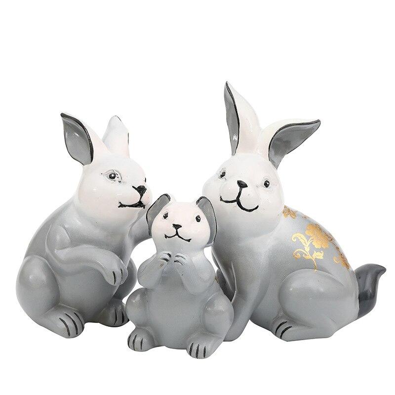 3 PC mignon lapin famille résine modèle Figurine Miniatures dessin animé lapin famille maison bureau décoration accessoires cadeau d'anniversaire