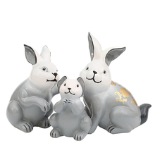 3PC Cute Rabbit Family Resin Model Figurine Miniatures Cartoon Home Desktop Decoration Accessories Birthday Gift