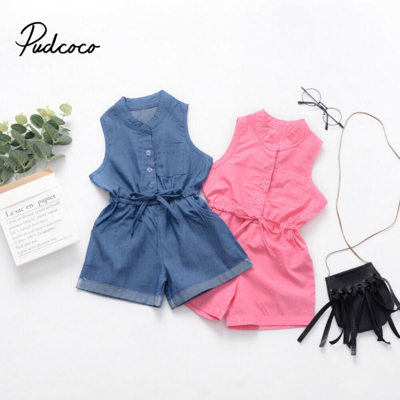 Cute Girls Rompers Summer Sleeveless Solid Girls Jumpsuit Baby Sunsuit Newborn Playsuit Toddler Infant Clothing