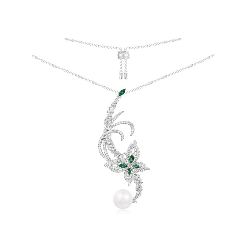 ZOZIRI Zircon Butterfly Necklaces & Pendants for Women Jewelry pearl CZ green stone choker Gift Party Wedding Chokers Necklace faux pearl rhinestone butterfly denim choker necklace