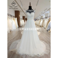 Swanskirt vestido de noiva Vintage Lace Up Ball Wedding Dresses 2019 new Customized Plus Size Bridal Wedding Gowns C103