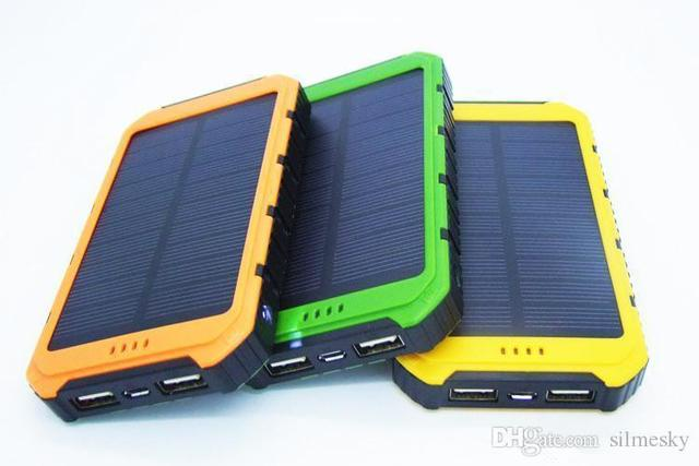 Free LED Presentes de Alta Qualidade 10000 mAh Banco de Potência À Prova D' Água Solar PowerBank Saída 2A Carregador Universal Do Telefone Móvel Portátil