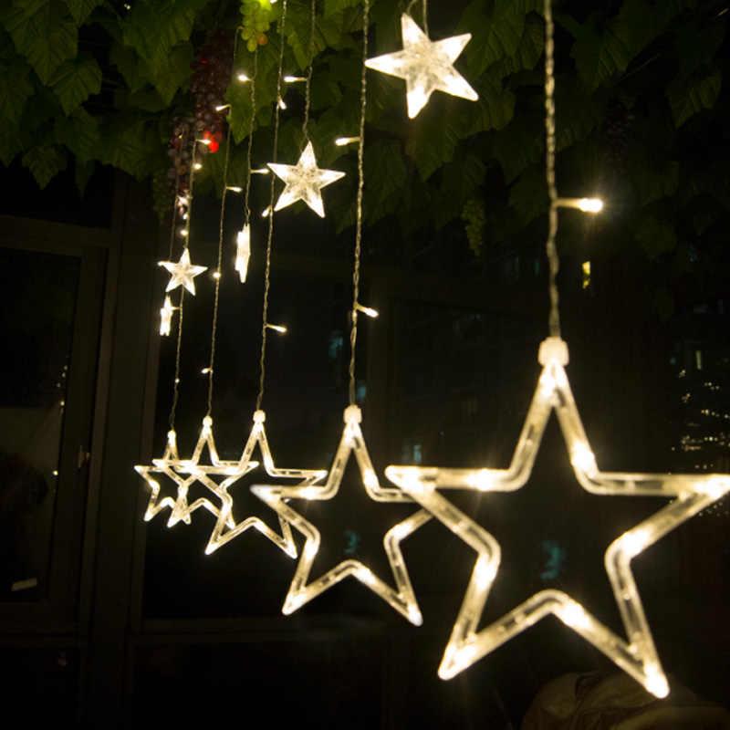 ЕС Plug AC 220 В праздник освещения светодио дный Фея Звезда Шторы строка luminarias гирлянда украшения рождественские свадьба свет 4 м